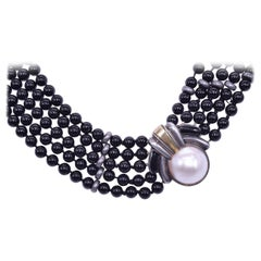 Cartier 18 Karat Yellow Gold, Sterling Silver, Mabe Pearl and Onyx Bead Necklace