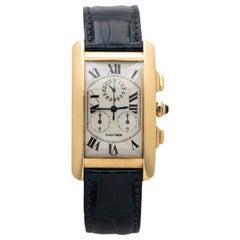 Cartier 18 Karat Yellow Gold Tank Américaine Chronograph Watch Model 1730