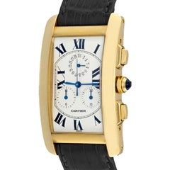Cartier 18 Karat Yellow Gold Tank Americaine Quartz Wristwatch Ref W2601156