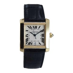 Cartier Men's 18 Karat Yellow Gold Tank Francaise with Original Box, circa 2000