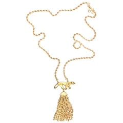 Cartier 18 Karat Yellow Gold Tassel Panthere Chain Necklace