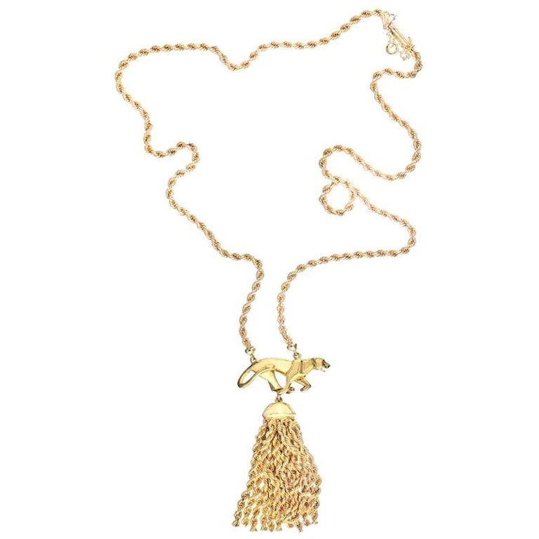 Cartier 18 Karat Yellow Gold Tassel Panthere Chain Necklace For Sale