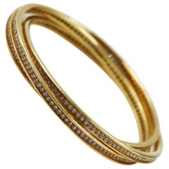 Cartier 18 Karat Yellow Gold Trinity Bangle Full Diamond Bracelet