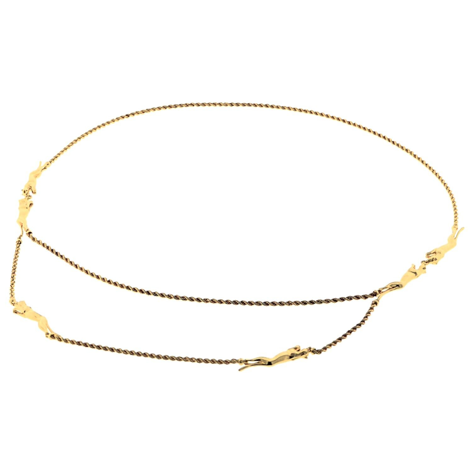 Cartier Panthere Yellow Gold Vintage 6 Motif Rope Necklace