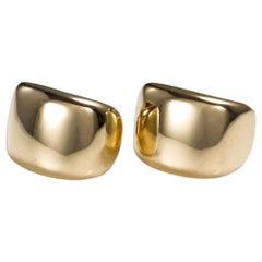 Cartier 18 Karat Yellow Gold Wide Half Hoop Clip on Earrings, Circa 1999