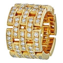 Cartier 18 Karat Yellow Maillon Panthere Diamond Band Ring