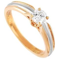 Cartier 18 Karat Yellow, White and Rose Gold 0.30 Carat Diamond Engagement Ring