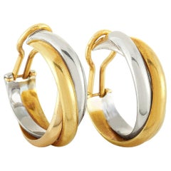 Cartier 18 Karat Yellow, White and Rose Gold Clip-On Earrings
