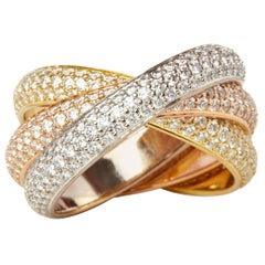 Cartier 18 Karat Yellow, White and Rose Gold Diamond Classic Trinity Band Ring