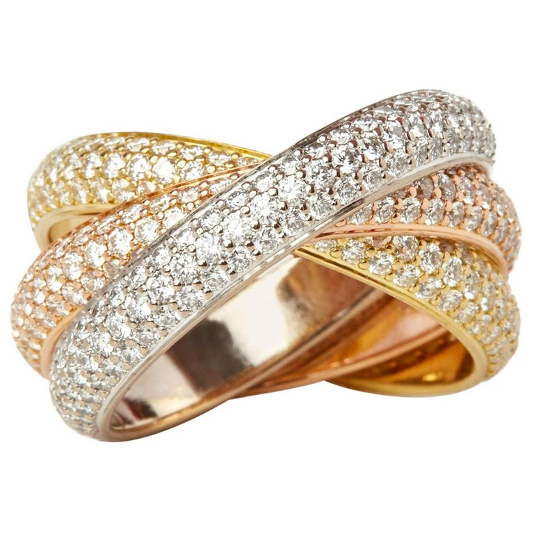 Cartier 18 Karat Yellow, White and Rose Gold Diamond Classic Trinity Band Ring For Sale