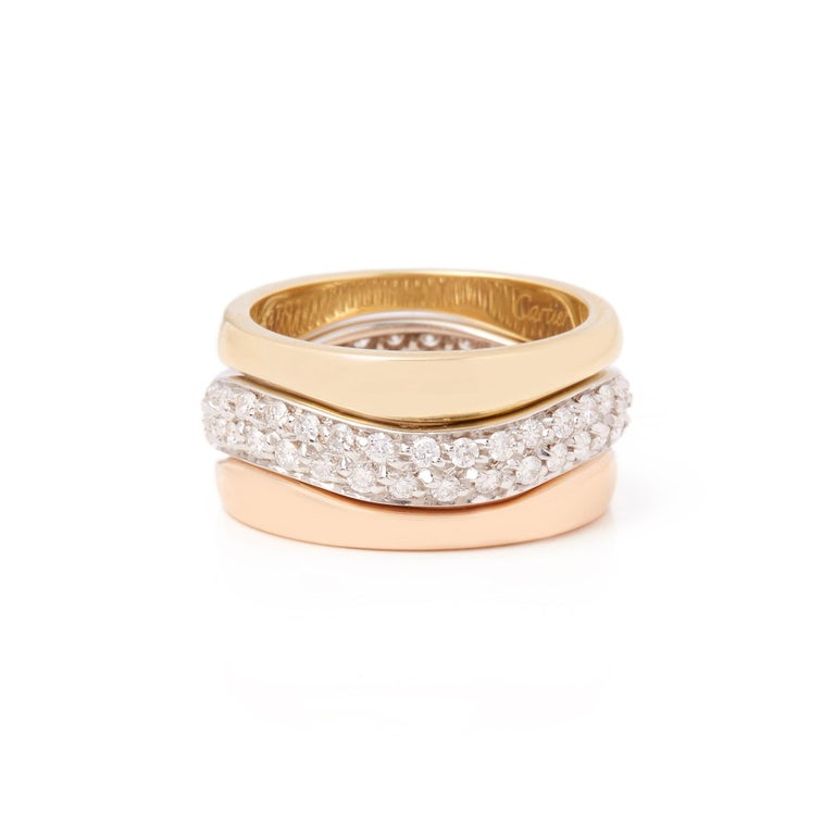 Round Cut Cartier 18 Karat Yellow, White and Rose Gold Diamond Stackable Rings For Sale