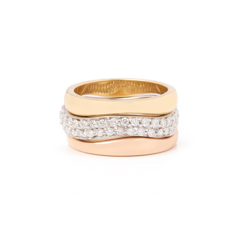 Cartier 18 Karat Yellow, White and Rose Gold Diamond Stackable Rings In Excellent Condition For Sale In Bishop's Stortford, Hertfordshire