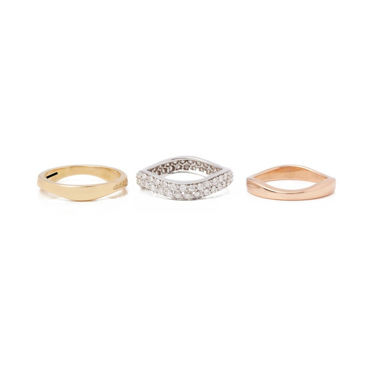 Women's Cartier 18 Karat Yellow, White and Rose Gold Diamond Stackable Rings For Sale