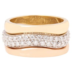 Cartier 18 Karat Yellow, White and Rose Gold Diamond Stackable Rings