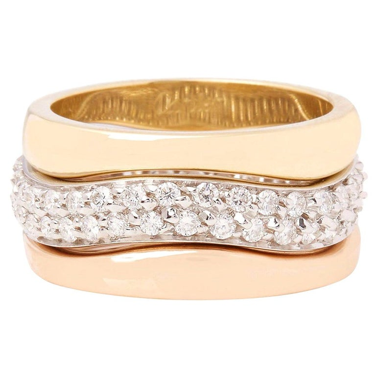 Cartier 18 Karat Yellow, White and Rose Gold Diamond Stackable Rings For Sale