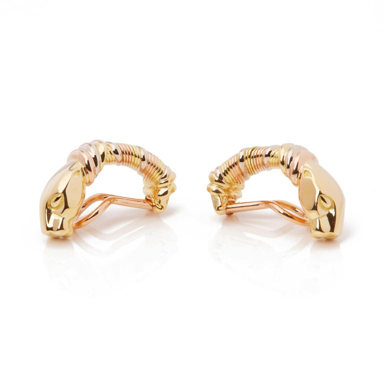 Modern Cartier 18 Karat Yellow, White and Rose Gold Panthère Earrings For Sale