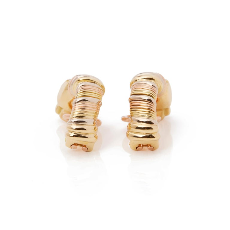 Cartier 18 Karat Yellow, White and Rose Gold Panthère Earrings In Excellent Condition For Sale In Bishop's Stortford, Hertfordshire
