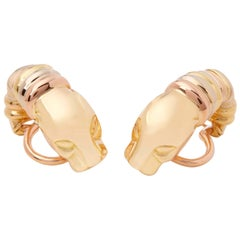 Cartier 18 Karat Yellow, White and Rose Gold Panthère Earrings