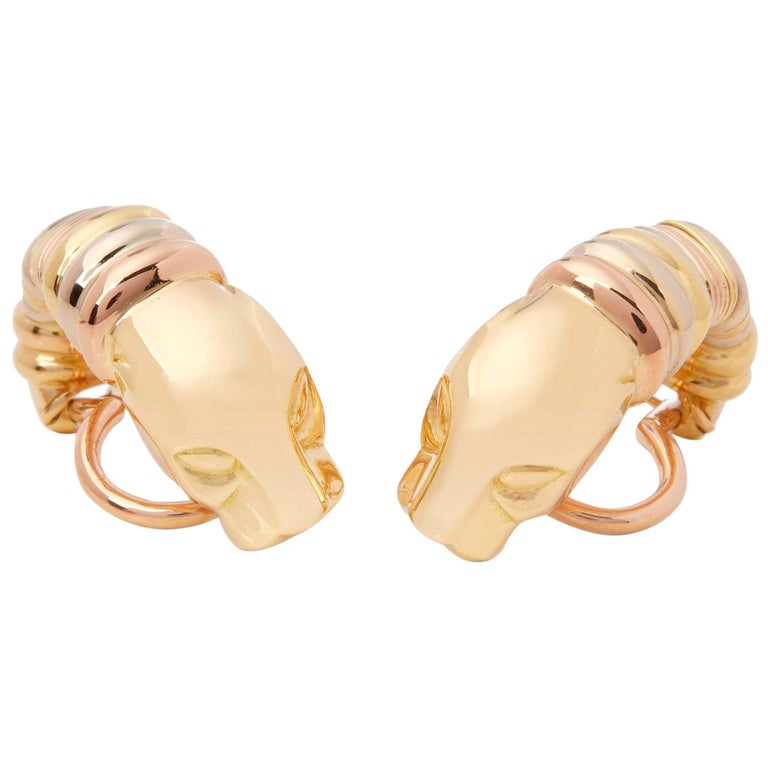 Cartier 18 Karat Yellow, White and Rose Gold Panthère Earrings For Sale