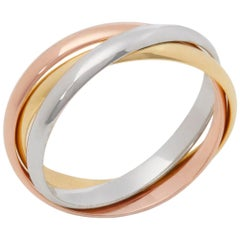 Cartier 18 Karat Yellow, White and Rose Gold Small Trinity Band Ring