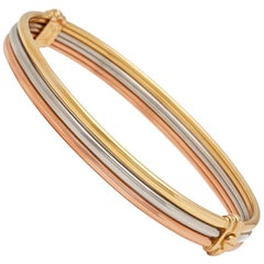 Cartier 18 Karat Yellow, White and Rose Gold Vintage Trinity Bracelet