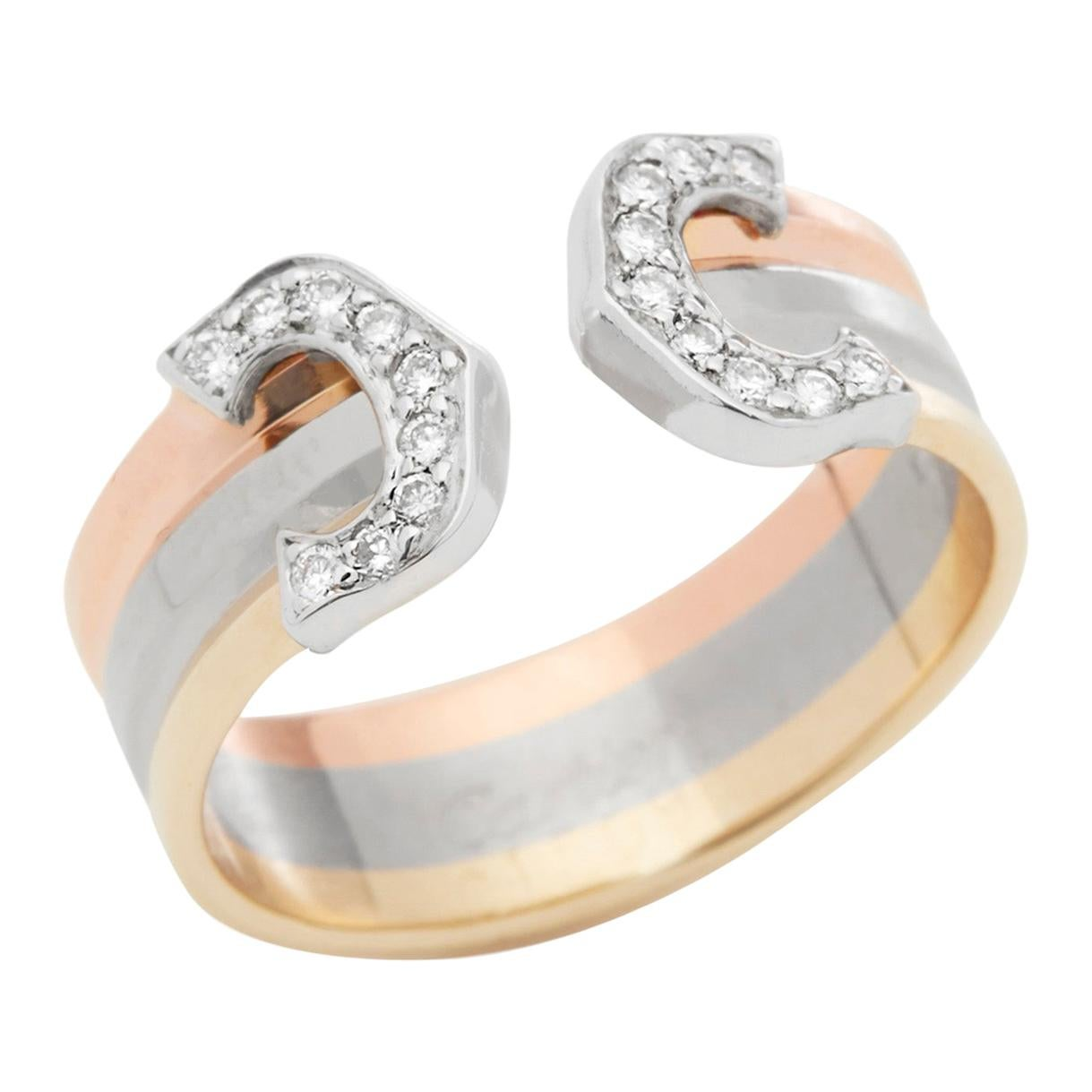 Cartier 18 Karat Yellow, White and Rose Gold C De Cartier Diamond Ring
