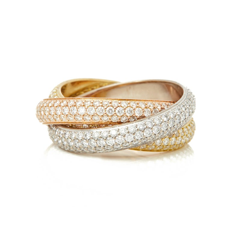 Round Cut Cartier 18 Karat Yellow, White and Rose Gold Diamond Classic Trinity Band Ring For Sale