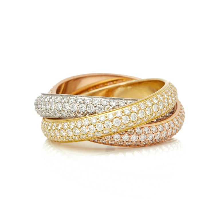 Cartier 18 Karat Yellow, White and Rose Gold Diamond Classic Trinity Band Ring In Excellent Condition For Sale In Bishop's Stortford, Hertfordshire