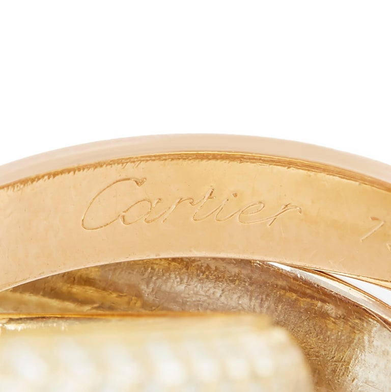 Cartier 18 Karat Yellow, White and Rose Gold Diamond Classic Trinity Band Ring For Sale 1
