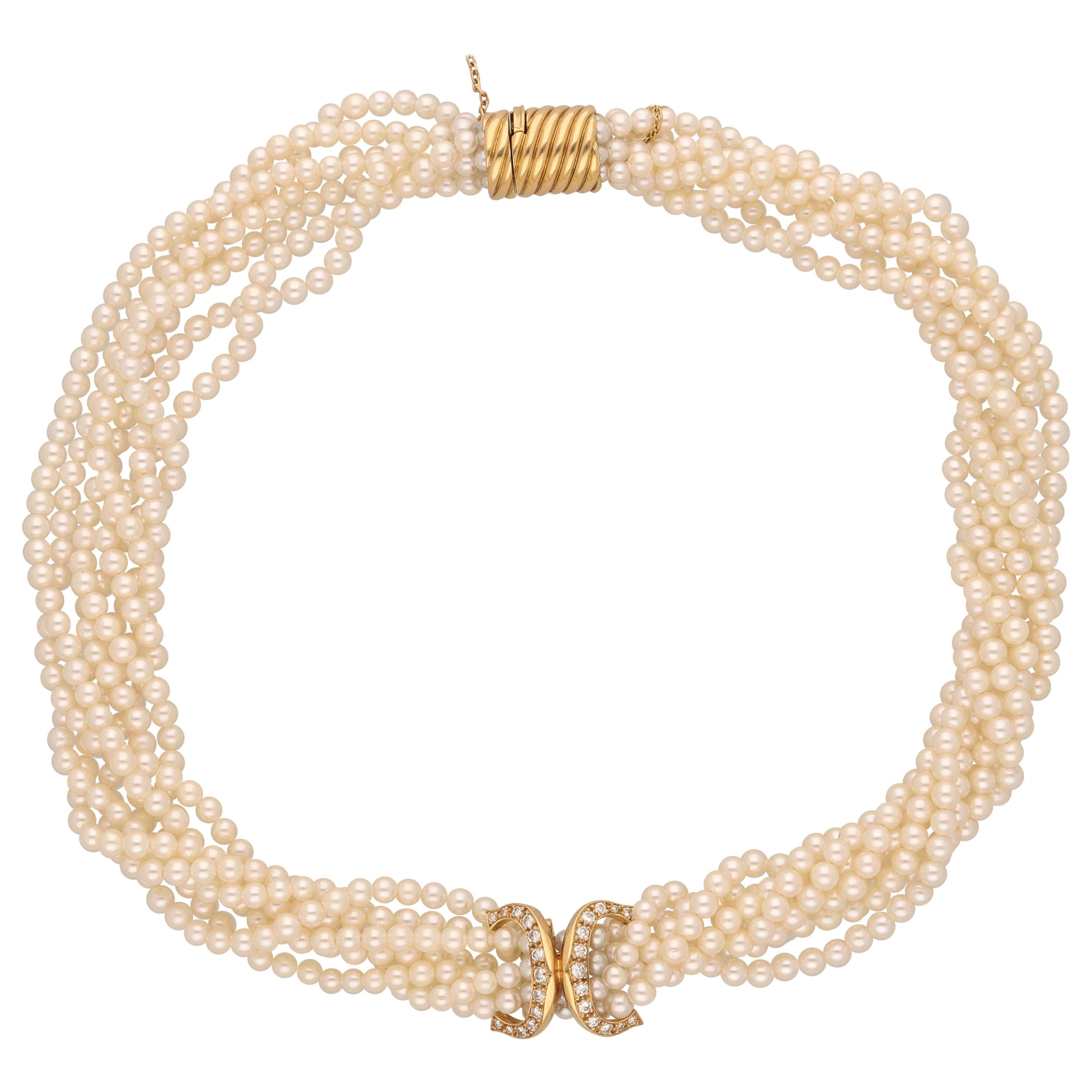 Cartier 18 Kt, Yellow Gold Diamonds Pearls Necklace