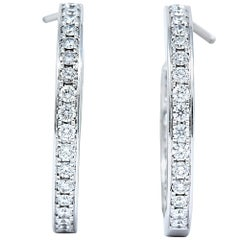 Cartier 1.80 Carat Diamond 18 Karat White Gold Contemporary In-Out Hoop Earrings