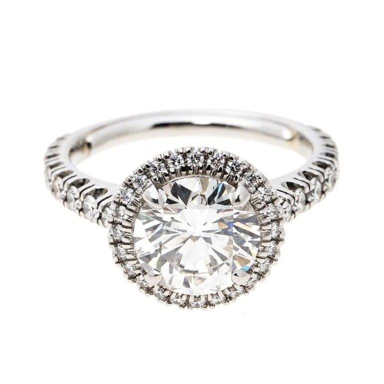 1dab679cc9ca6 Cartier 1895 Destinee 2.08ct Diamond Solitaire Platinum Engagement Ring  Size 51