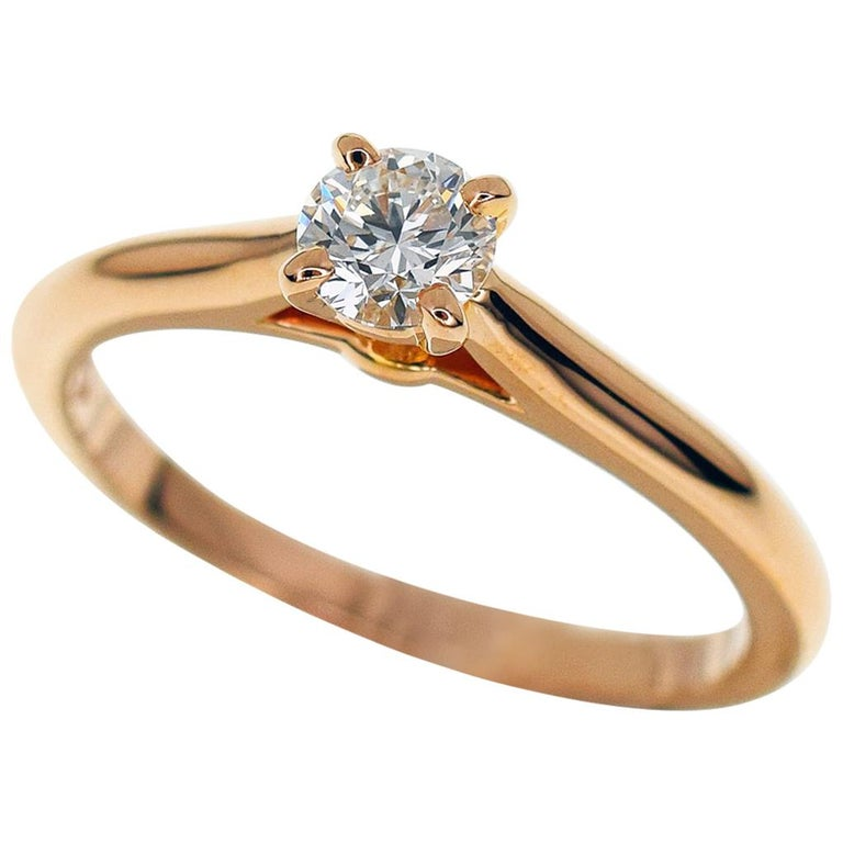 Cartier  26 Carat Diamond 18 Karat Pink Gold Ring For Sale