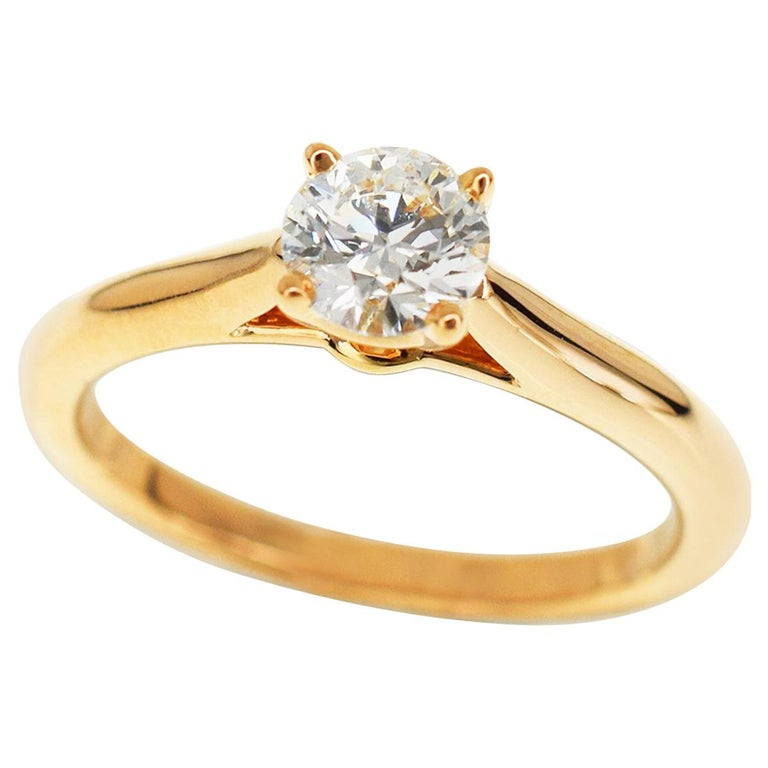 Cartier  50 Carat Diamond 18 Carat Pink Gold Ring For Sale