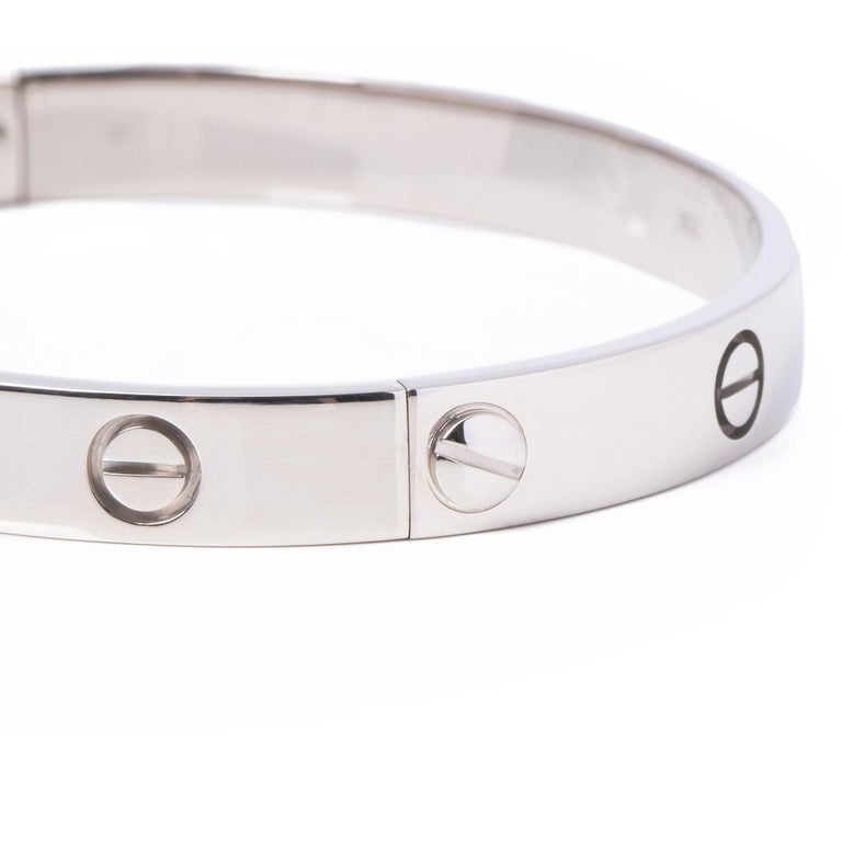 Contemporary Cartier 18ct White Gold Love Bangle For Sale