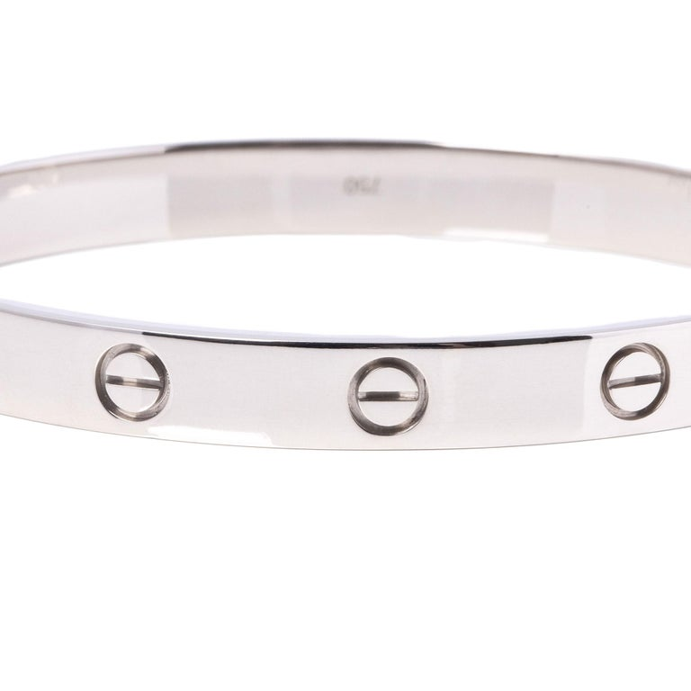 Cartier 18ct White Gold Love Bangle In Excellent Condition For Sale In Bishop's Stortford, Hertfordshire