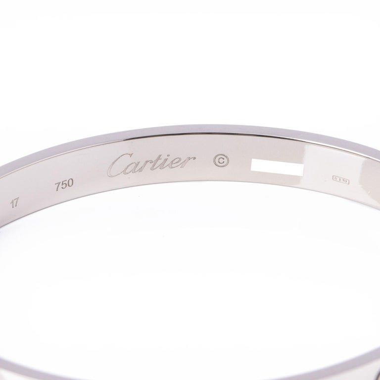 Women's or Men's Cartier 18ct White Gold Love Bangle For Sale