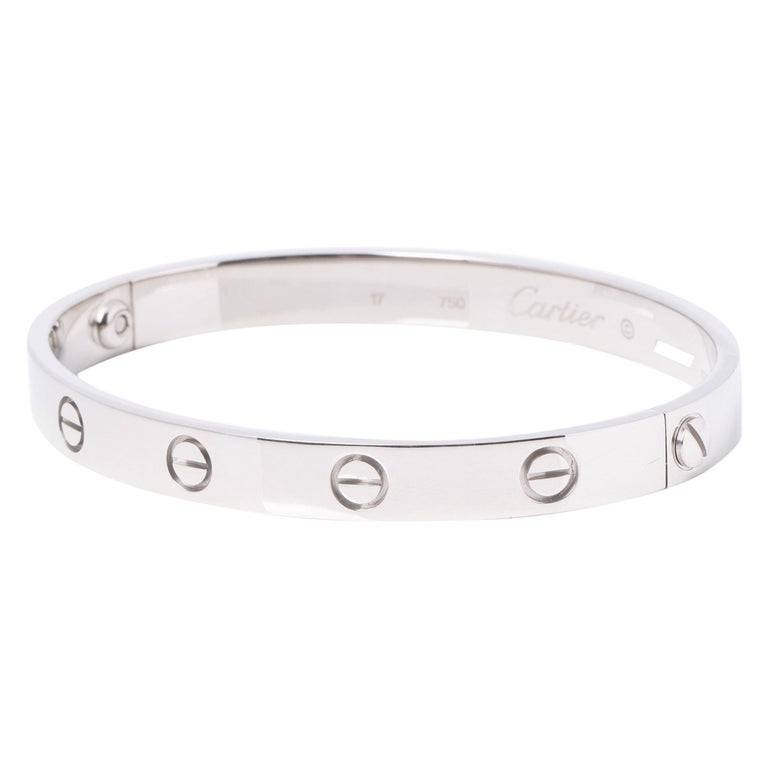 Cartier 18ct White Gold Love Bangle For Sale