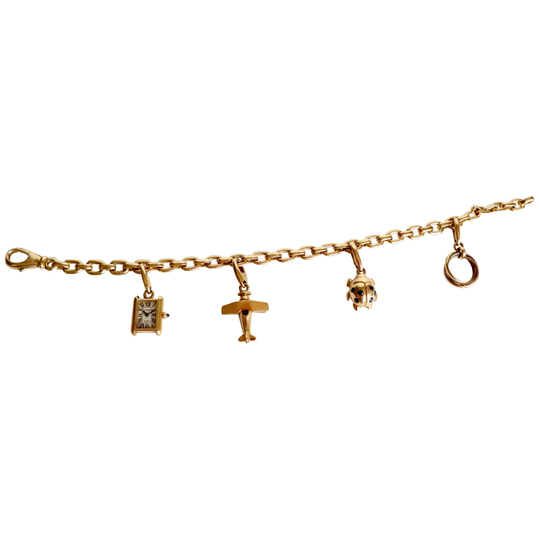 Cartier 18 Carat Yellow Gold Charm Bracelet