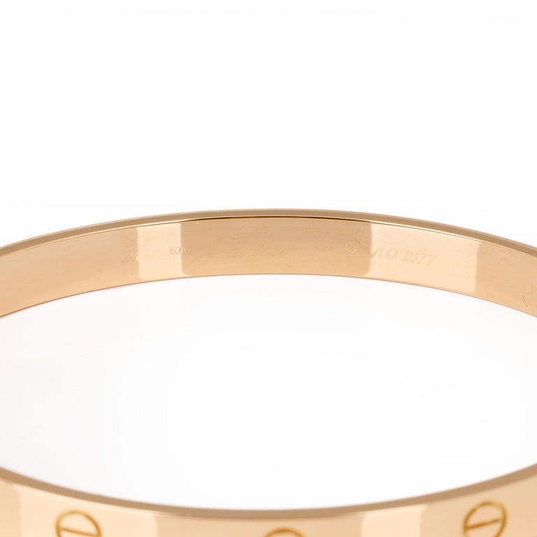 Cartier 18ct Yellow Gold Love Bangle In Excellent Condition For Sale In Bishop's Stortford, Hertfordshire