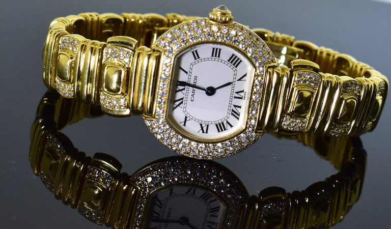 Cartier 18 Karat and Diamond Wristwatch or Bracelet 5