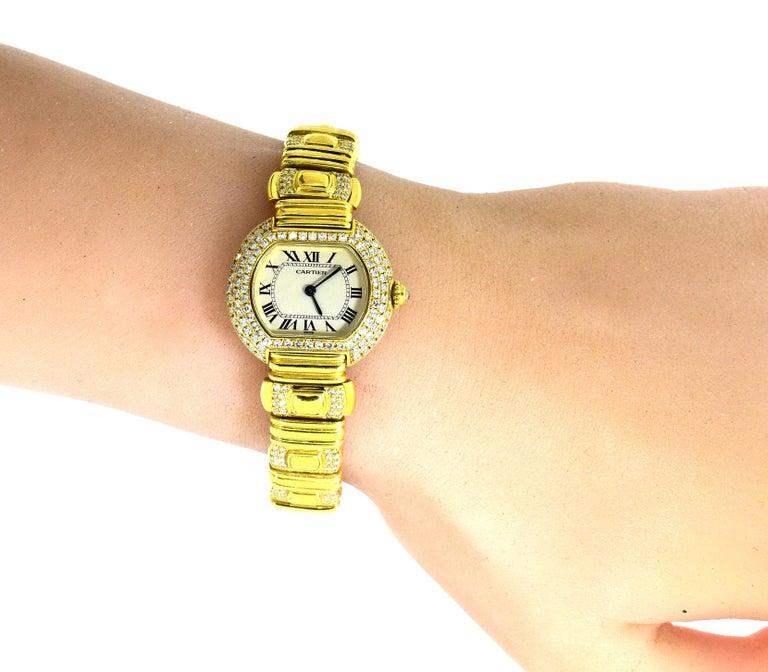 Cartier 18 Karat and Diamond Wristwatch or Bracelet 8