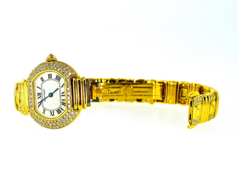 Cartier 18 Karat and Diamond Wristwatch or Bracelet In Excellent Condition In Aspen, CO