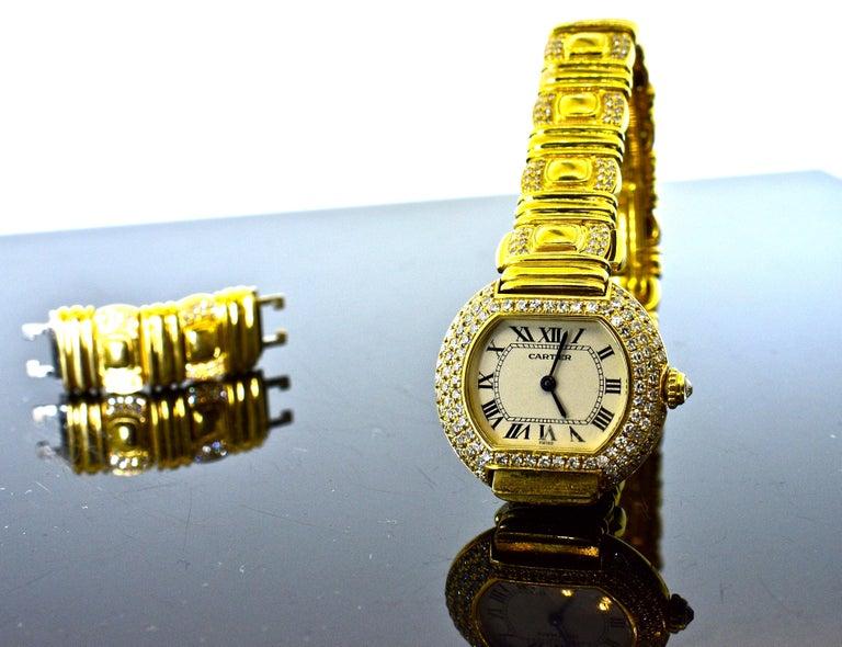Cartier 18 Karat and Diamond Wristwatch or Bracelet 2