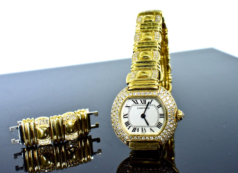 Cartier 18 Karat and Diamond Wristwatch or Bracelet 3