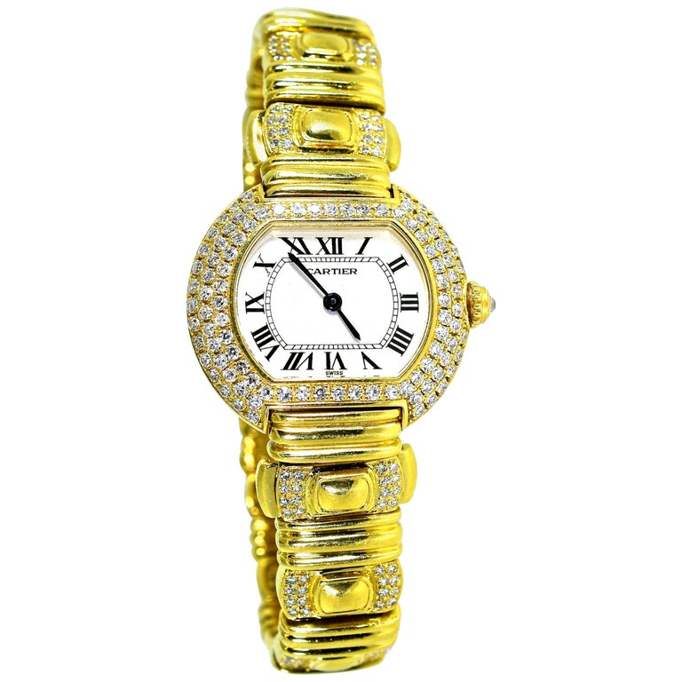 Cartier 18 Karat and Diamond Wristwatch or Bracelet