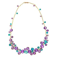 Cartier 18K Gold Délices de Goa Featuring Turquoise Amethyst Beads Necklace