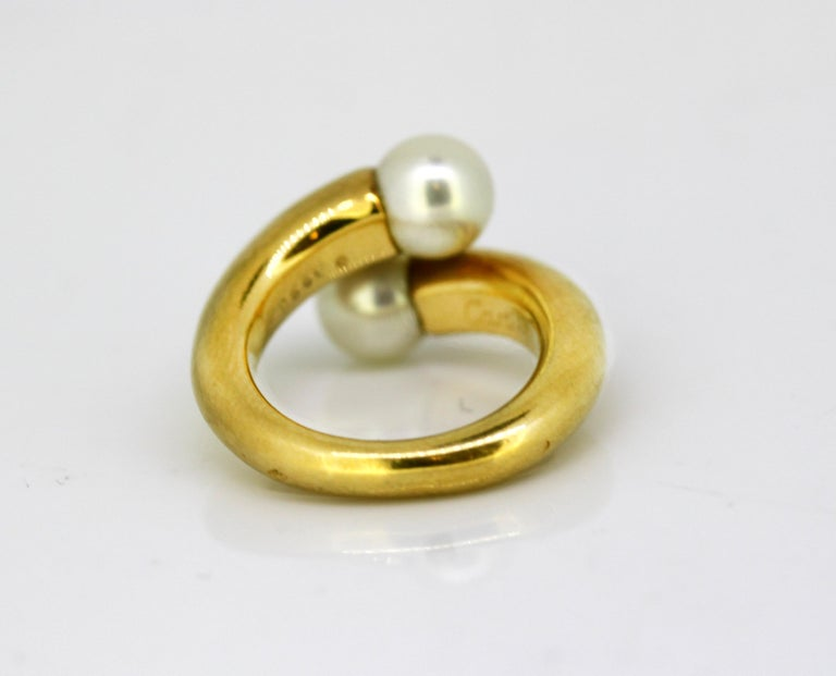 Women's Cartier, 18 Karat Gold Ladies Ring with Two Natural Freshwater Pearls For Sale