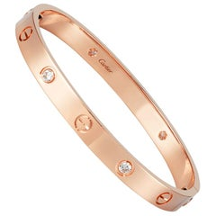 Cartier 18K Rose Gold 4 Diamond Love Bracelet
