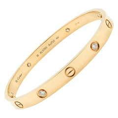 Cartier 18 Karat Rose Gold 4 Diamond Love Bracelet